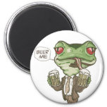 Beer Me Green Frog by Mudge Studios 2 Inch Round Magnet