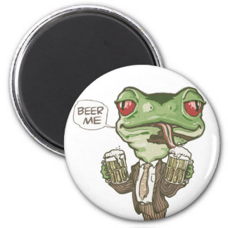 Beer Me Green Frog by Mudge Studios Magnets