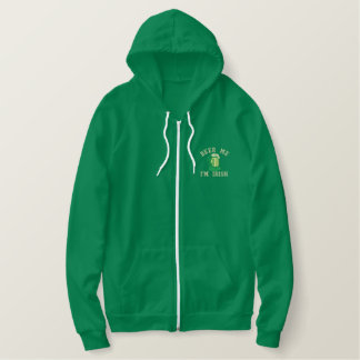 Beer Me  I'm Irish Funny Ireland Embroidered Hoodie