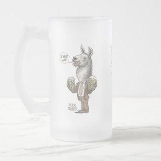 Beer Me Llama by Mudge Studios Frosted Glass Beer Mug