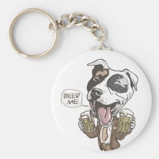 Beer Me Pit Bull by Mudge Studios Keychain