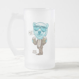 Beer Me Polar Bear by Mudge Studios 16 Oz Frosted Glass Beer Mug