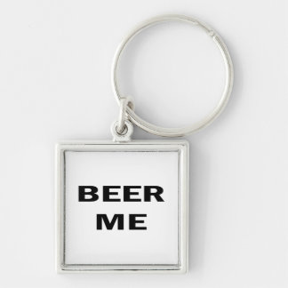 Beer Me Silver-Colored Square Keychain