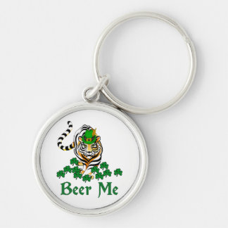 Beer Me Tiger Silver-Colored Round Keychain