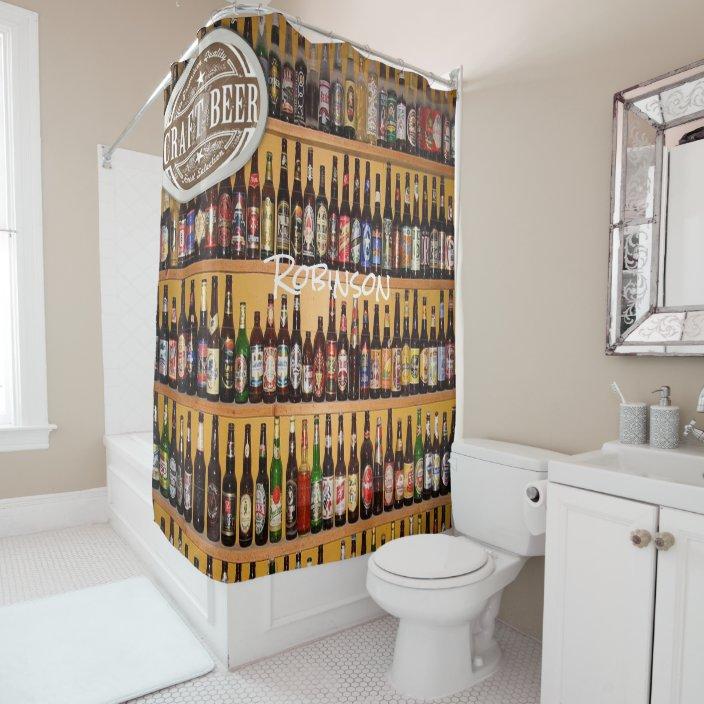 Beer mens black bottle shower curtain | Zazzle.com