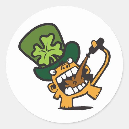 Beer Monkey Celebrates St Patty's Day Classic Round Sticker