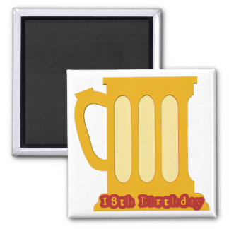 Beer Mug 18th Birthday Gifts 2 Inch Square Magnet