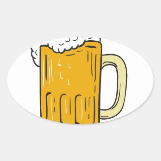 Beer Mug Drawing Oval Sticker