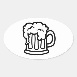 Beer mug glass oval sticker