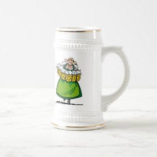 Beer Mug Happy Waitress Dirndl Beer Stein