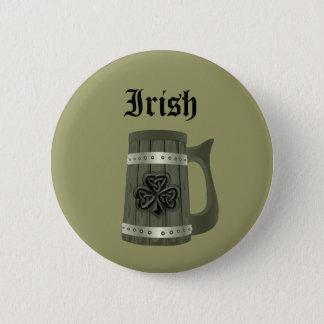 Beer mug Irish lucky shamrock Pinback Button