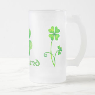Beer mug with aquarelle shamrocks