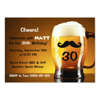 Beer Mustache Fun Birthday Party Invitation