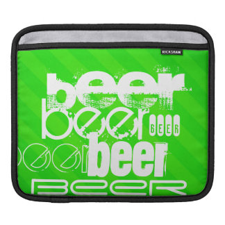 Beer; Neon Green Stripes Sleeve For iPads