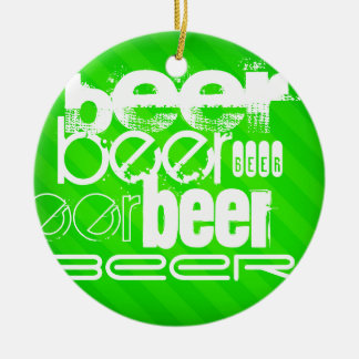 Beer; Neon Green Stripes Double-Sided Ceramic Round Christmas Ornament