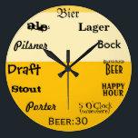 """Beer O&#39;Clock Large Clock<br><div class=""""desc"""">Time for beer... </div>"""