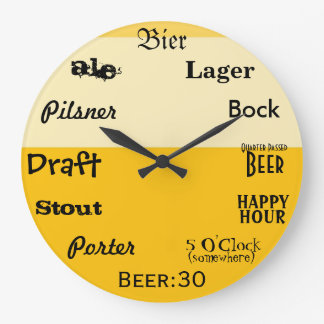 Beer O'Clock Large Clock
