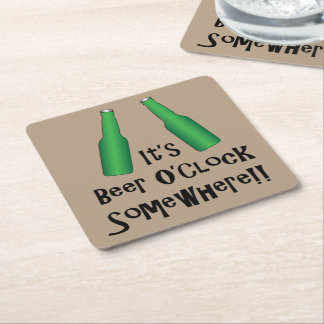 Beer O'Clock Party Time Sun Over the Yardarm Square Paper Coaster