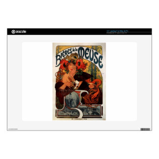 """Beer of the Meuse by Alphonse Mucha 15"""" Laptop Decal"""