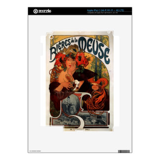 Beer of the Meuse by Alphonse Mucha iPad 3 Decals