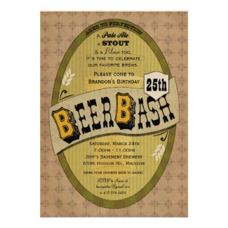 Beer Party or Beer Bash Invitation