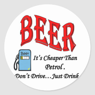 Beer Petrol Full Classic Round Sticker