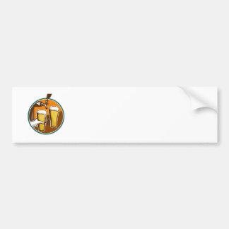 Beer Pint Glass Hand Tap Retro Bumper Sticker