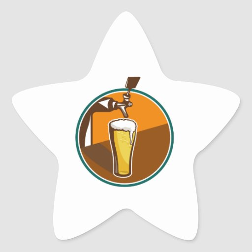 Beer Pint Glass Tap Retro Star Stickers