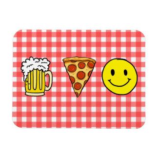 Beer Pizza Happiness Rectangular Photo Magnet