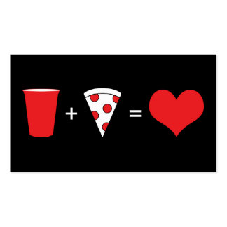 beer + pizza = love business card