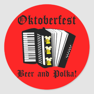 Beer Polka Oktoberfest Round Sticker