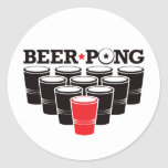 Beer Pong Basic - Red Classic Round Sticker