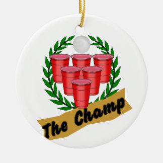 Beer Pong Champ Ceramic Ornament
