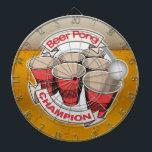 "Beer Pong Champion Dart Board<br><div class=""desc"">Funny alcohol themed dart boards.  Beer Pong Champs!</div>"