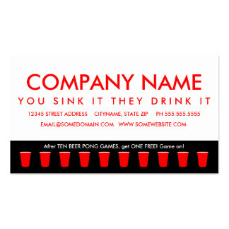 beer pong champion punch card Double-Sided standard business cards (Pack of 100)