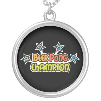Beer pong champion retro design with stars round pendant necklace