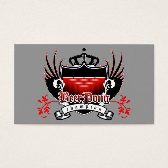 beer pong champion royal crest business card