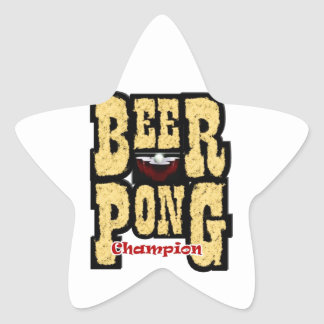 Beer Pong Champion Star Sticker