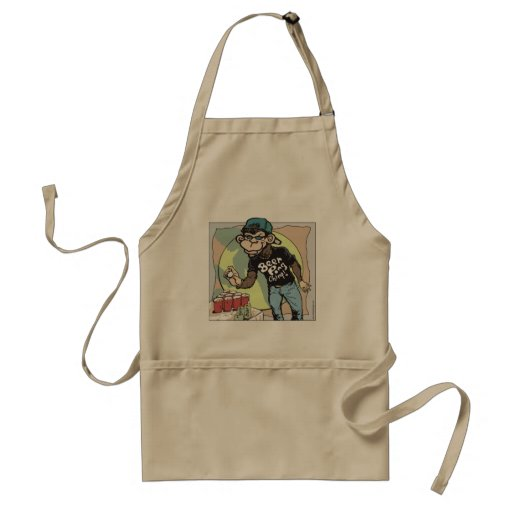 Beer Pong Chimp by Mudge Adult Apron