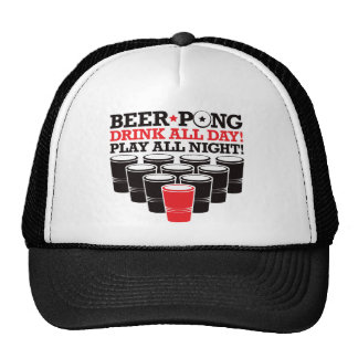 Beer Pong Drink All Day Play All Night - Red Mesh Hat