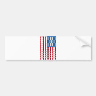 Beer Pong Drinking Game American Flag Bumper Sticker
