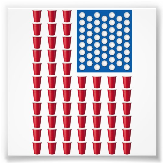 Beer Pong Drinking Game American Flag Photo Print