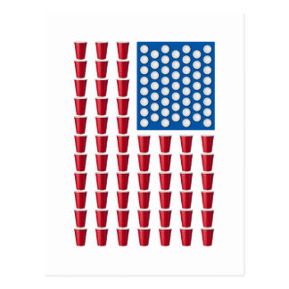 Beer Pong Drinking Game American Flag Post Cards