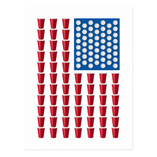 Beer Pong Drinking Game American Flag Postcard