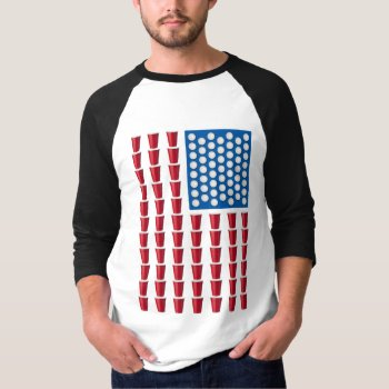 50c1c694955b Beer Pong Drinking Game American Flag T-shirt