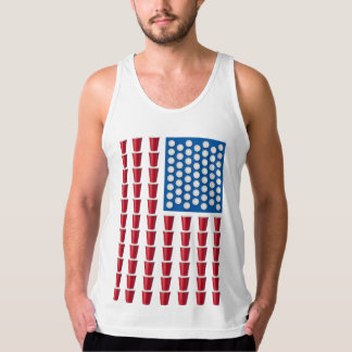 Beer Pong Drinking Game American Flag Tank Tops