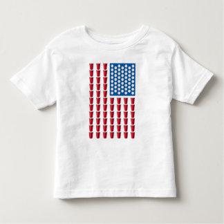 Beer Pong Drinking Game American Flag Toddler T-shirt