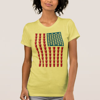 Beer Pong Drinking Game American Flag Tee Shirts