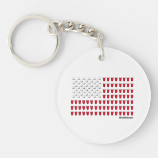 Beer Pong Flag Double-Sided Round Acrylic Keychain