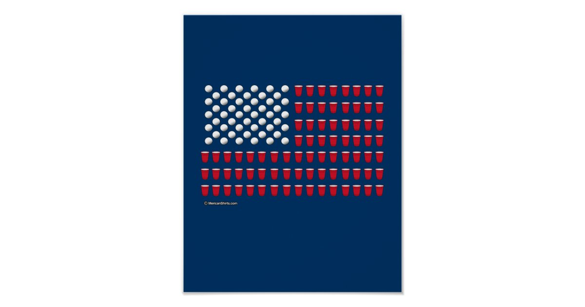 Beer pong flag poster zazzle for 11x14 paper size